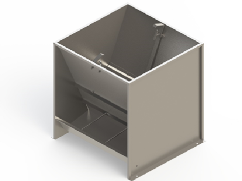 Bunker type feeder 2-sided 6-section for growing-finishing 140 liters