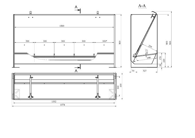 Годівниця бункерного типу одностороння 5-ти секційна НЕРЖАВІЮЧА для відгодівлі 240 літрів