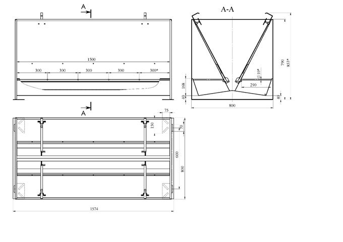 Годівниця бункерного типу двостороння 10-и секційна Нержавіюча для відгодівлі 475 літрів