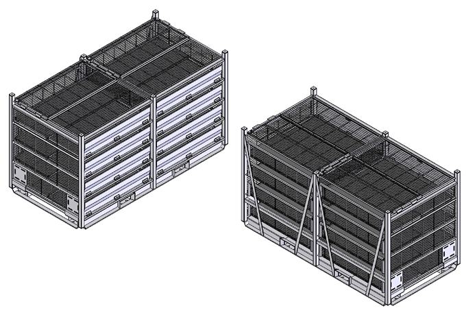Container for transporting live poultry: broiler chickens, laying hens, geese, ducks